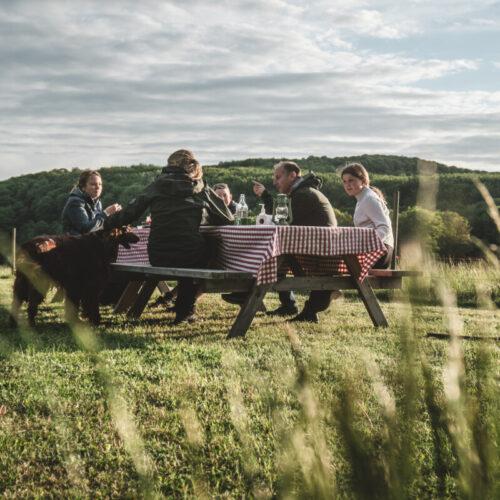 Middag utomhus en försommarkväll